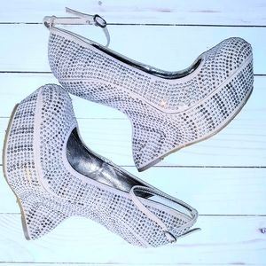 Dollhouse Nude Full Bling Wedge + Ankle Strap